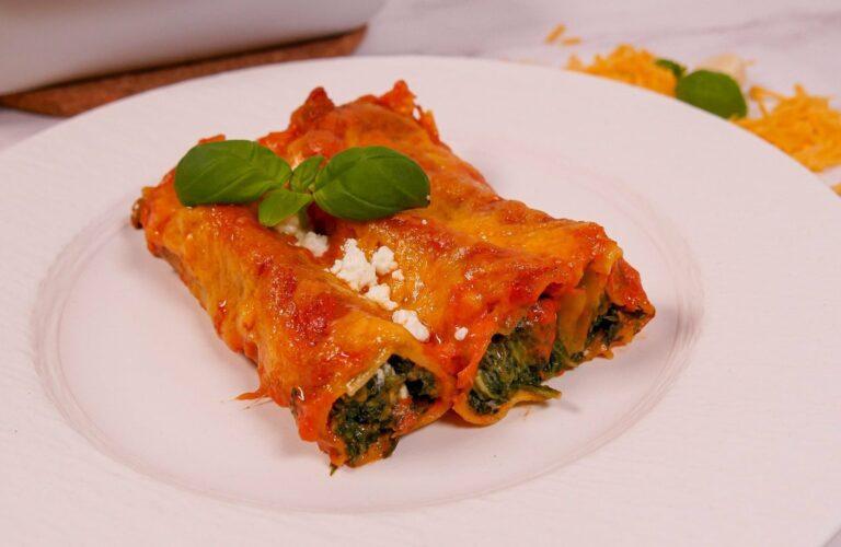 Rezept fuer gefuellte Cannelloni mit Spinat und Feta 1
