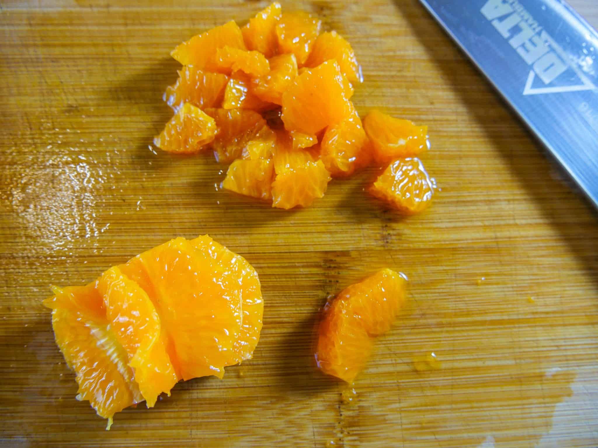 Mandarinen für ein fruchtiges Kürbis-Hähnchen geschnetzeltes