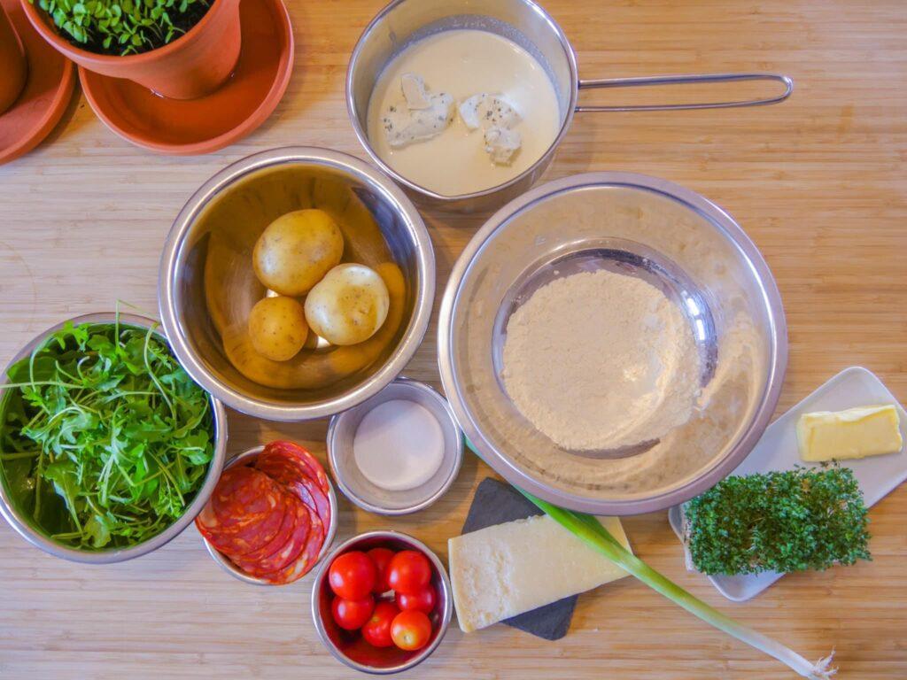 Zutaten für eine Gnocchi Pfanne mit Chorizo